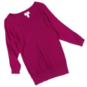 Ann Taylor Loft Raspberry Soft Sweater 3/4 sleeves